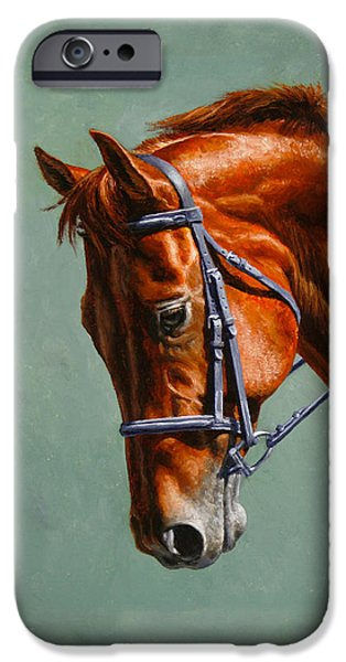 Horseback Riding iPhone Cases - Chestnut Dressage Horse Phone Case iPhone Case by Crista Forest