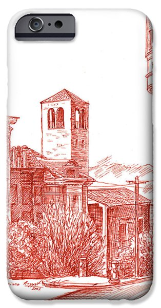 Sepia Ink Drawings iPhone Cases - Chestnut Street In San Francisco  iPhone Case by Irina Sztukowski