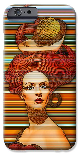 Abstract Digital Photographs iPhone Cases - Cheveux Rouges Extract iPhone Case by Chuck Staley