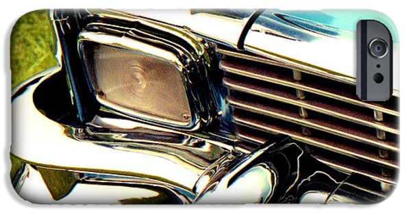 Racing iPhone Cases - Chevrolet Bel Air 1956 Nose iPhone Case by David M Davis