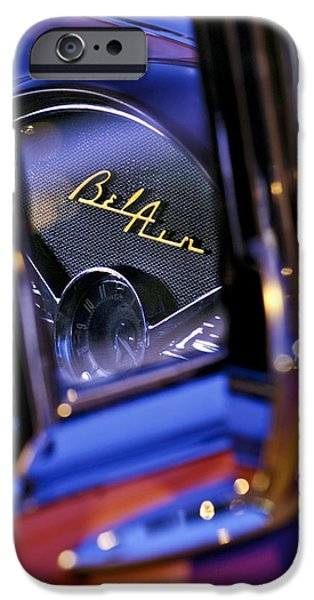 Jill Reger Photography iPhone Cases - Chevrolet Belair Dash Board Emblem -754c iPhone Case by Jill Reger