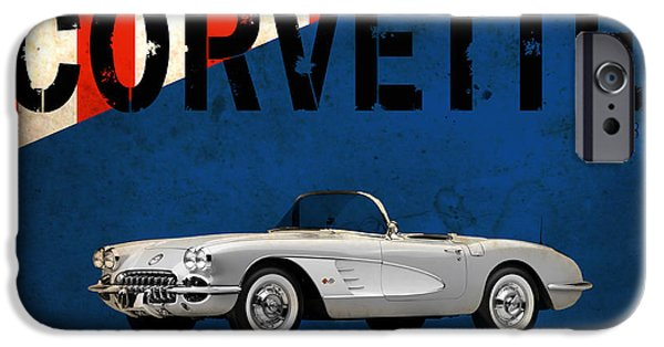 Chevrolet iPhone Cases - Chevrolet Corvette 1958 iPhone Case by Mark Rogan