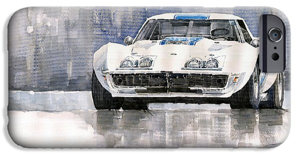Cars iPhone Cases - Chevrolet Corvette C3 iPhone Case by Yuriy  Shevchuk