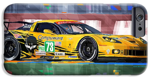 Racing Mixed Media iPhone Cases - Chevrolet Corvette C6R GTE Pro Le Mans 24 2012 iPhone Case by Yuriy  Shevchuk