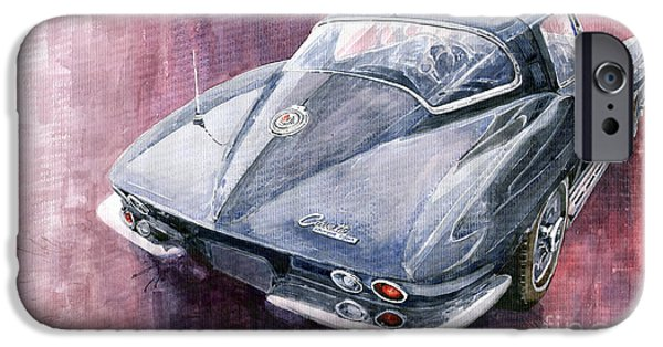 Cars iPhone Cases - Chevrolet Corvette Sting Ray 1965 iPhone Case by Yuriy  Shevchuk