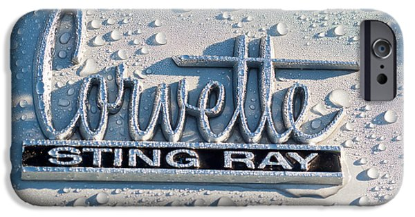 Sting Ray iPhone Cases - 1966 Chevrolet Corvette Sting Ray Emblem -0052c iPhone Case by Jill Reger