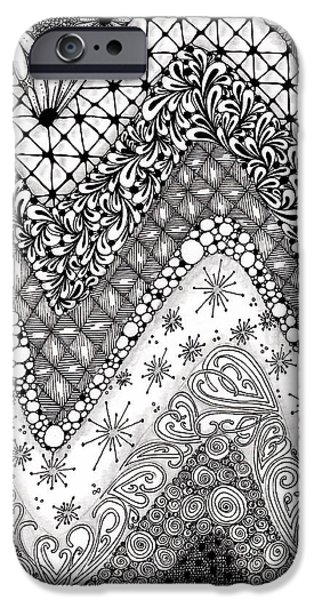 Pen And Ink Illustration iPhone Cases - Chevron Tangle iPhone Case by Paula Dickerhoff