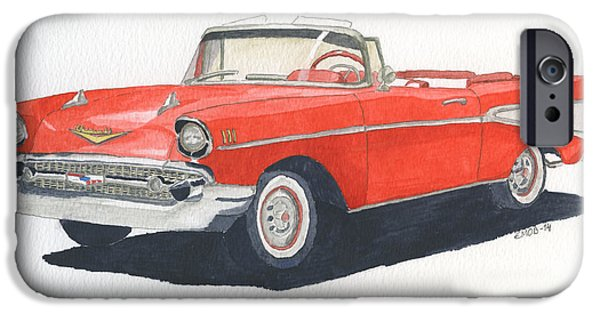 American Cars Drawings iPhone Cases - Chevy Bel Air Convertible 57 iPhone Case by Eva Ason