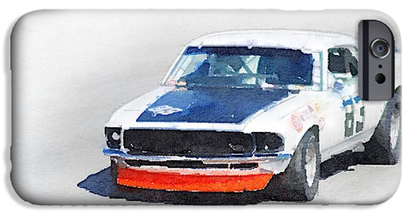 Old Cars iPhone Cases - Chevy Camaro Monterey Watercolor iPhone Case by Naxart Studio