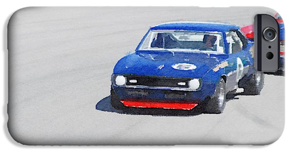 Old Cars iPhone Cases - Chevy Camaro on Race Track Watercolor iPhone Case by Naxart Studio