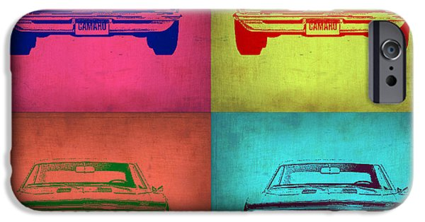 Concept Digital Art iPhone Cases - Chevy Camaro Pop Art 1 iPhone Case by Naxart Studio