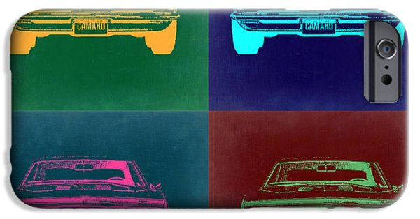 Concept Digital Art iPhone Cases - Chevy Camaro Pop Art 2 iPhone Case by Naxart Studio