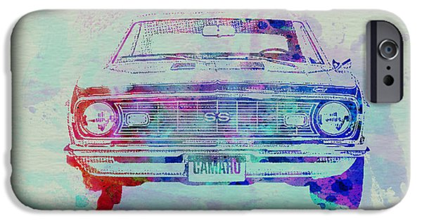 Automotive Drawings iPhone Cases - Chevy Camaro Watercolor 2 iPhone Case by Naxart Studio