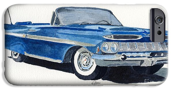 American Cars Drawings iPhone Cases - Chevy Impala iPhone Case by Eva Ason