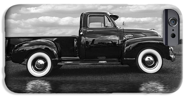 Water In Caves iPhone Cases - Chevy Truck By The Lake in Black and White iPhone Case by Gill Billington