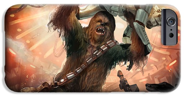 War iPhone Cases - Chewbacca - Star Wars the Card Game iPhone Case by Ryan Barger