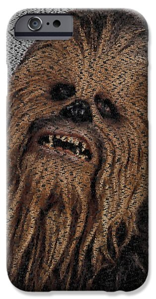 Montage Drawings iPhone Cases - Chewbacca Star Wars Terms Text Mosaic iPhone Case by Paul Van Scott