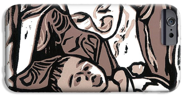 Printmaking iPhone Cases - Chey and Lucca 2 iPhone Case by Kevin Houchin