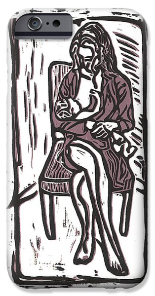 Linocut iPhone Cases - Chey and Lucca Nursing iPhone Case by Kevin Houchin