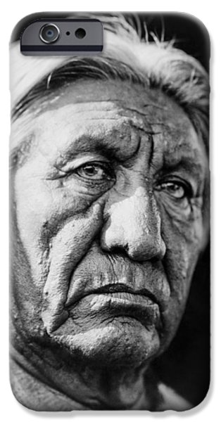 Gray Hair iPhone Cases - Cheyenne Indian Man circa 1927 iPhone Case by Aged Pixel