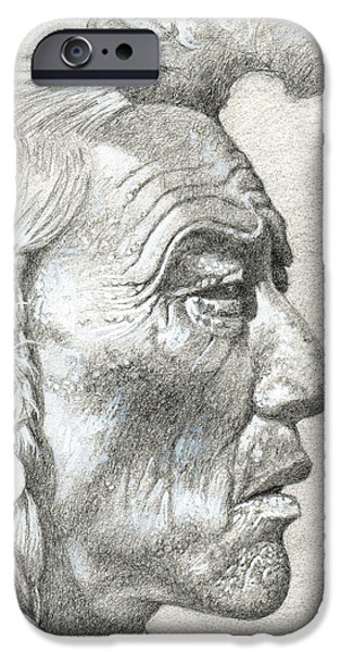Native American Spirit Portrait iPhone Cases - Cheyenne Medicine Man iPhone Case by Bern Miller