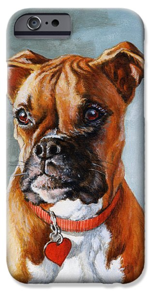 Boxer Dog iPhone Cases - Cheyenne iPhone Case by Richard De Wolfe
