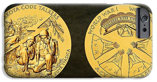 Wwi iPhone Cases - Cheyenne River Sioux Tribe Code Talkers Bronze Medal Art iPhone Case by Movie Poster Prints