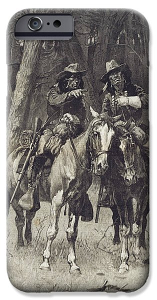 Frederic Remington iPhone Cases - Cheyenne Scouts Patrolling the Big Timber of the North Canadian Oklahoma iPhone Case by Frederic Remington