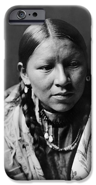 Braids iPhone Cases - Cheyenne young woman circa 1910 iPhone Case by Aged Pixel