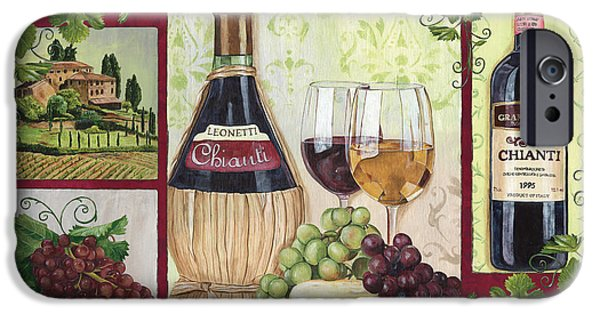 Wine Bottles Paintings iPhone Cases - Chianti and Friends 2 iPhone Case by Debbie DeWitt