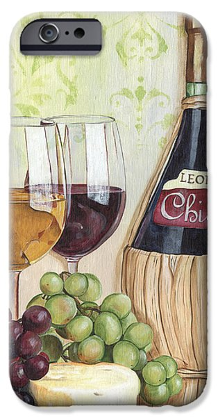 Wine Glasses Paintings iPhone Cases - Chianti and Friends iPhone Case by Debbie DeWitt