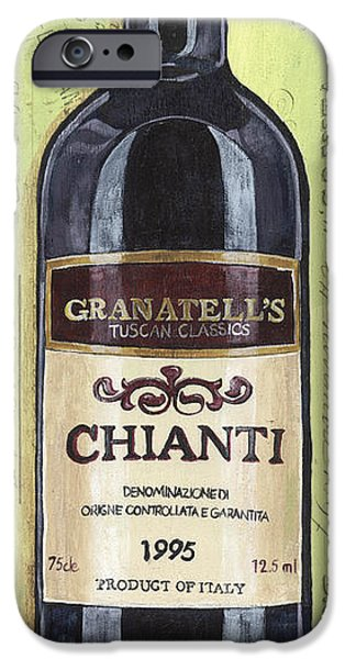 Wine Bottles Paintings iPhone Cases - Chianti and Friends Panel 1 iPhone Case by Debbie DeWitt