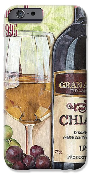 Wine Glasses Paintings iPhone Cases - Chianti Rufina iPhone Case by Debbie DeWitt
