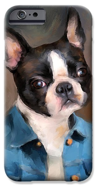 Fun Dog Art iPhone Cases - Chic Boston Terrier iPhone Case by Jai Johnson