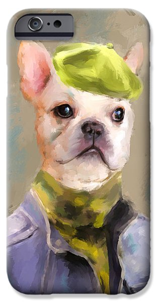 Fun Dog Art iPhone Cases - Chic French Bulldog iPhone Case by Jai Johnson