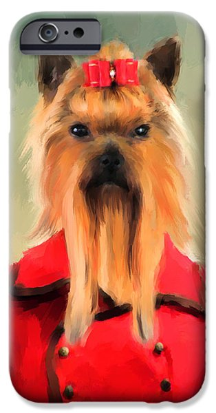 Yorkshire Terrier Art iPhone Cases - Chic Yorkshire Terrier iPhone Case by Jai Johnson