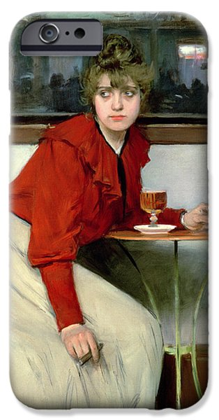 Woman In A Dress iPhone Cases - Chica in a Bar iPhone Case by Ramon Casas i Carbo