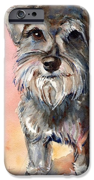 Miniature Schnauzer iPhone Cases - Chica iPhone Case by Maria