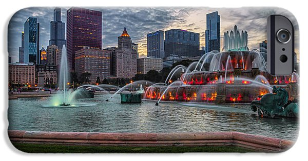 Sears Tower iPhone Cases - Chicago - Buckingham Fountain and the City iPhone Case by Lindley Johnson