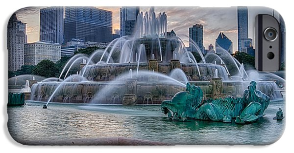 Sears Tower iPhone Cases - Chicago - Buckingham Fountain Evening iPhone Case by Lindley Johnson