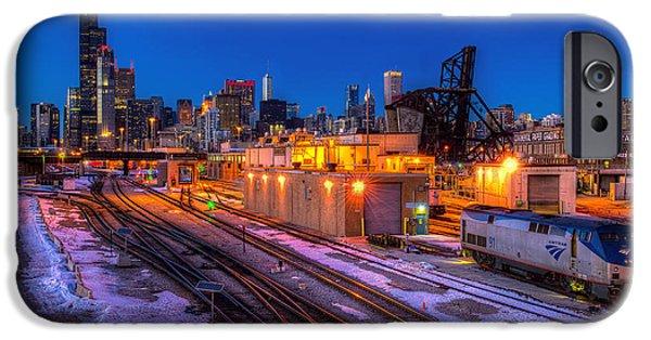 Willis Tower iPhone Cases - Chicago 18th St. Bridge Twilight iPhone Case by Hajime Sargent