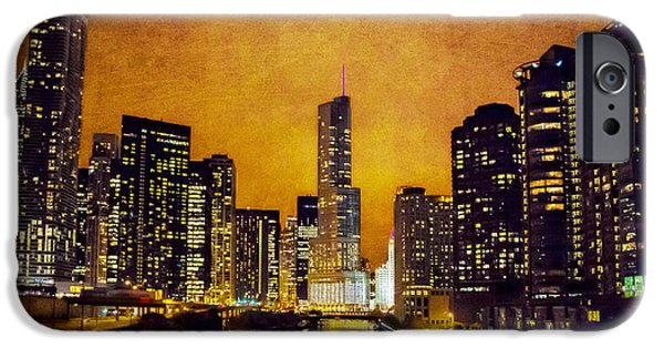 Wrigley Digital Art iPhone Cases - Chicago - A - Glow iPhone Case by Jeanette Brown