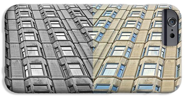 Business Digital iPhone Cases - Chicago Abstract Congress Plaza Hotel Windows 2 Panel iPhone Case by Thomas Woolworth