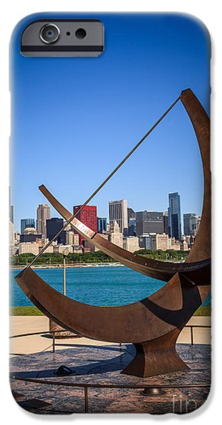 Chicago iPhone Cases - Chicago Adler Planetarium Sundial and Chicago Skyline iPhone Case by Paul Velgos