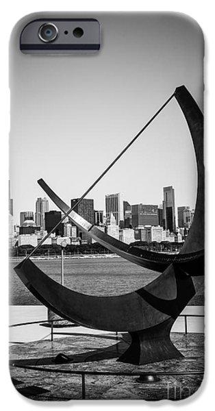 Chicago Adler Planetarium Sundial in Black and White iPhone Case by Paul Velgos