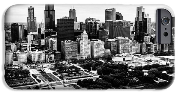 Sears Tower iPhone Cases - Chicago Aerial Picture in Black and White iPhone Case by Paul Velgos