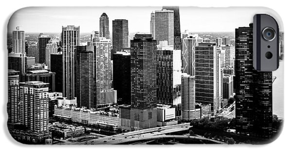 Lake Shore Drive iPhone Cases - Chicago Aerial Picture of Streeterville in Black and White iPhone Case by Paul Velgos