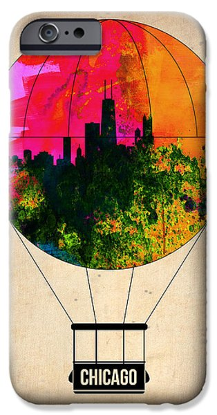 Sears Tower iPhone Cases - Chicago Air Balloon iPhone Case by Naxart Studio