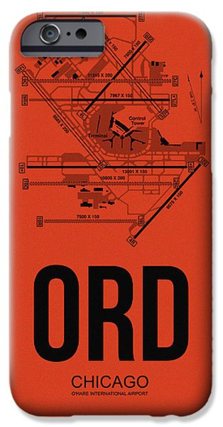 Town Mixed Media iPhone Cases - Chicago Airport Poster 1 iPhone Case by Naxart Studio