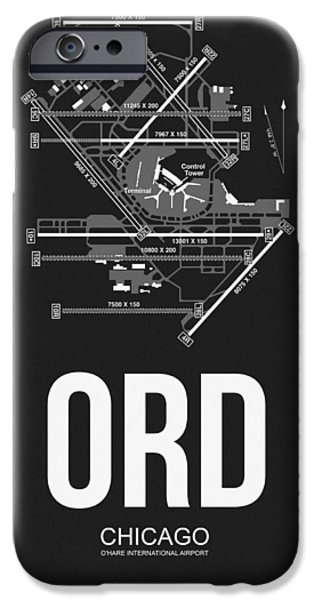 Town iPhone Cases - Chicago Airport Poster iPhone Case by Naxart Studio